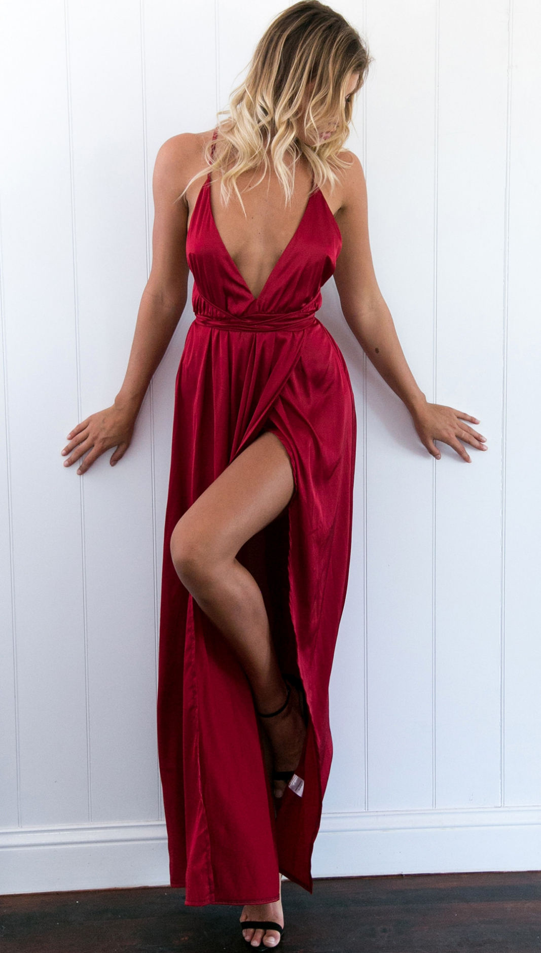 123a38ed72d3f Sexy Red Wine V Neck Prom Dress, Open Back Prom Dress, Sexy Maxi Dress,  Slit Prom Dress, Split Prom Dress, Sexy Formal Dress