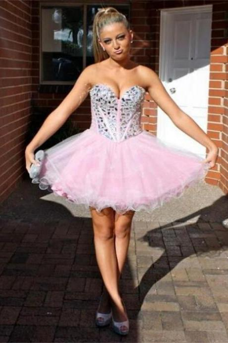 2017 Short Sleeveless Backless Sweetheart Beading Short/Mini Homecoming Dress 2017 Dresses